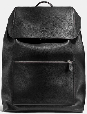 Coach Manhattan men's large backpack in leather: US$895.
