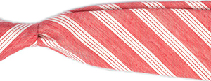 Emmett London salmon with off white regimental stripe silk linen blend tie.