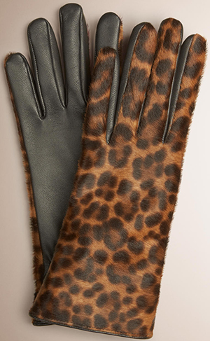 Burberry Leopard Print Calfskin and Leather Women's Gloves: US$995.