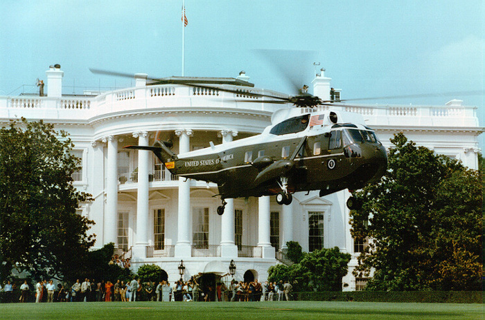 Marine One lifting off from the White House South Lawn.