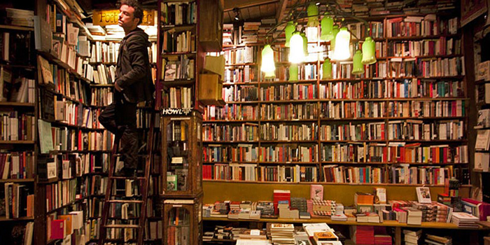 Inside Shakespeare & Company Bookshop, 37 Rue de la Bûcherie, 75005 Paris, France.