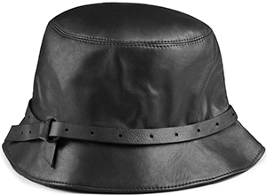 Acne Studios Acne Studios Solar black is a leather women's hat with a thin band around the crown: US$500.