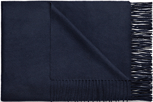 Acne Studios Canada cashmere navy is a fringed men's scarf made in warm, super soft cashmere: US$440.