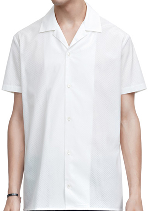 Acne Studios Ody Tech white is a laser cut poplin men's shirt with a boxy fit: US$400.