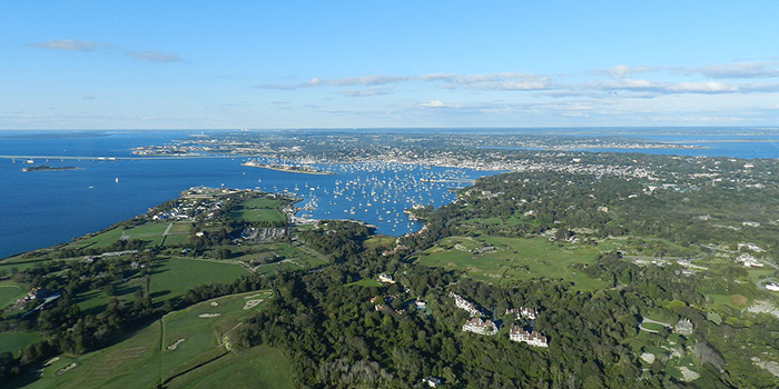 Newport is a seaside city on Aquidneck Island in Newport County, Rhode Island 02840, United States. It is located 23 miles (37 km) south of Providence, and 61 miles (98 km) south of Boston.