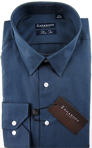 Zaharoff Slim Fit Navy Blue Cotton Dress Shirt: US$130.