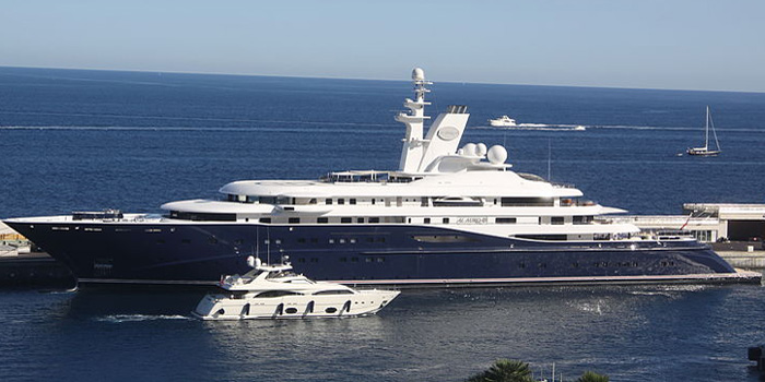 Al Mirqab - the world's 12th largest yacht: 437 ft / 133 m.