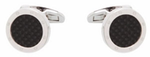 Alain Figaret Silver round shape cufflinks with carbon insert: €85.