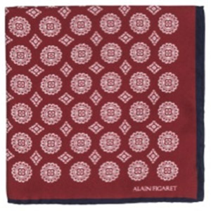 Alain Figaret Dark red silk handkerchief with geometrical patterns: €35.