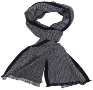 Alain Figaret Navy-blue scarf with geometrical pattern in wool and silk: €109.