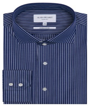 Alain Figaret Slim fit navy-blue stripes poplin dress shirt: €105.