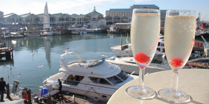On the deck of the Alba Lounge at Pierhead, Victoria and Albert Waterfront, Cape Town 8002, South Africa.