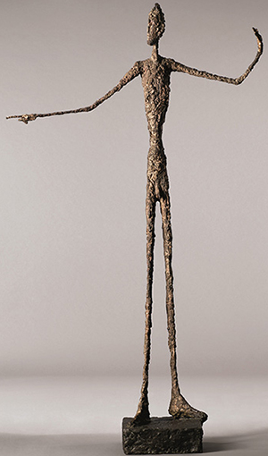Pointing Man (1947) by Alberto Giacometti sold for US$141,285,000 at Christie's, New York on May 11, 2015 - new record for most valuable work of sculpture ever sold at auction.