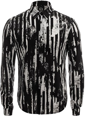 McQ Alexander McQueen Worn Stripe Print Men's Shirt: US$395.