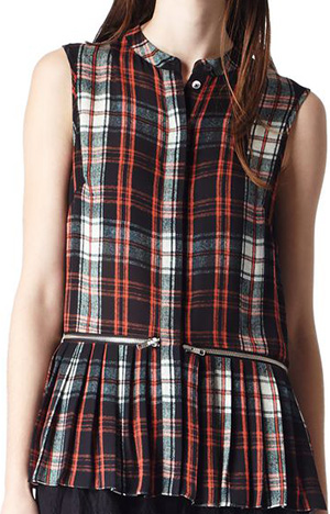 McQ Alexander McQueen Tartan Print Zip Pleat Women's Shirt: US$970.