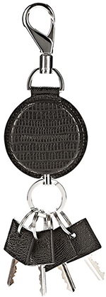 Alexander Wang Runway retractable keyring in black lizard embossed leather: US$117.