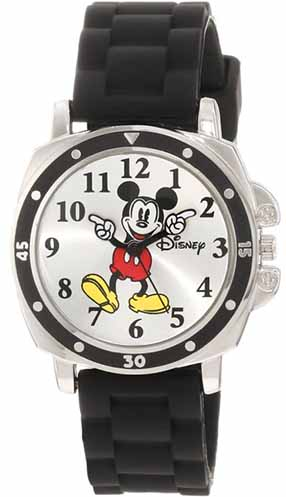 Disney Kids' MK1080 Mickey Mouse Watch with Black Rubber Strap: US$12.99.