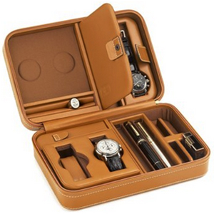 Scatola del Tempo Custodie 3P Leather Collectors Watch, Pen & Jewelry Case: US$1,440.