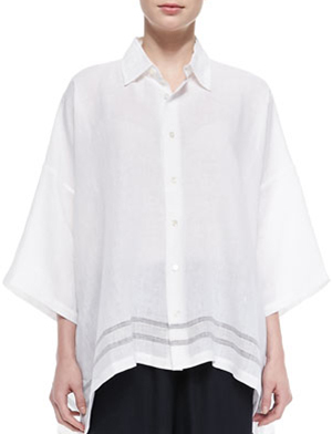 Eskandar Stripe-Hem Linen Women's Shirt: US$545.