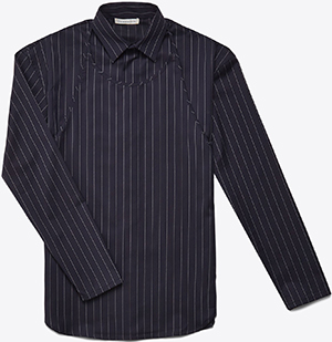 J.W.Anderson classic pinstripe shirt is given a twist with a bib-front panel that buttons at the side-seam: US$710.
