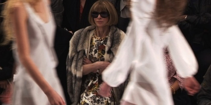 English editor-in-chief of American Vogue Anna Wintour at a fashion show.