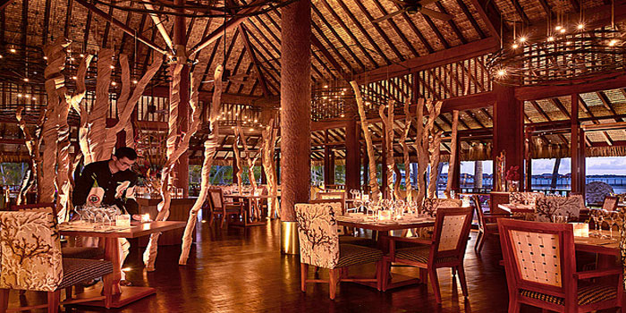 Arii Moana restaurant at the Four Seasons Resort Bora Bora, French Polynesia.