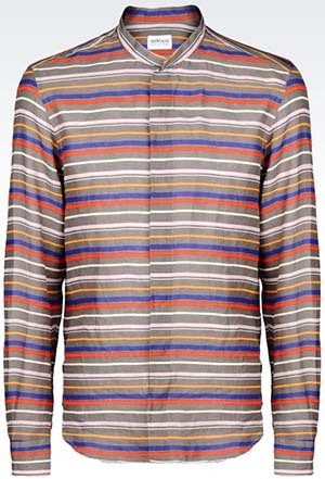 Armani Coleezioni shirt in striped linen with mandarin collar: US$375.