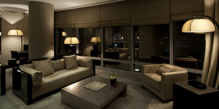 The living room of the Armani Dubai Suite at Armani Hotel Dubai at Burj Khalifa, 1 Sheikh Mohammed bin Rashid Blvd., Dubai, United Arab Emirates.