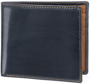 Tusting Harrold Leather Window Wallet in Dark Navy and Tan: £190.
