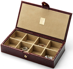 Aspinal of London Cufflink Box Amazon Brown Croc & Stone Suede: €230.