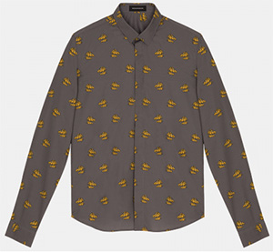 Kris Van Assche Grey Classic Shirt With Yellow Horses Print: €324.