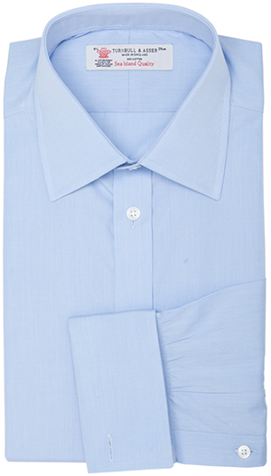 Turnbull & Asser Light Blue End-on-End Sea Island Quality Men's Shirt: €345.
