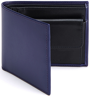 Turnbull & Asser Purple Leather Billfold and Coin Purse with Navy Leather Interior: £195.