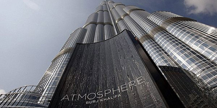 The AT.MOSPHERE restaurant located on the 122nd Floor, Burj Khalifa, Dubai, United Arab Emirates. World's highest restaurant located on the 122nd floor at the height of 442 m (1,450 ft) of the world's tallest skycraper Burj Khalifa.