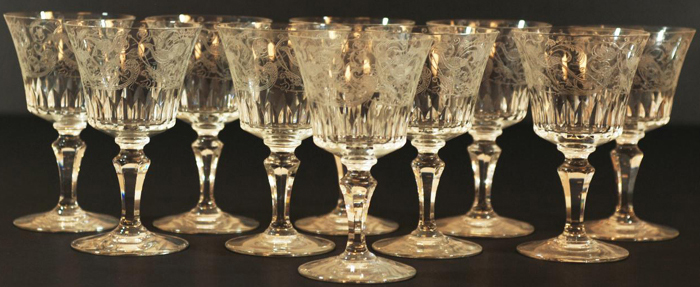 baccarat french crystal red wine glasses in the parme pattern patented in