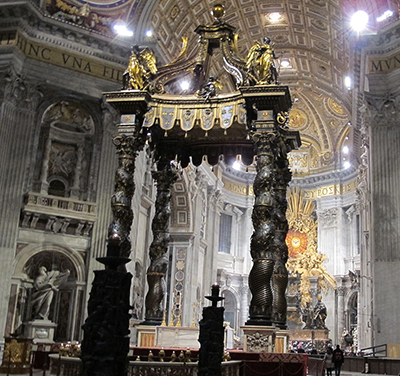 St. Peter's Baldachin over the high altar of St. Peter's Basilica in the Vatican City by Gian Lorenzo Bernini (1623-34).
