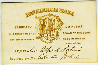 Invitation to the Patriarch Ball, February 29th, 1892.