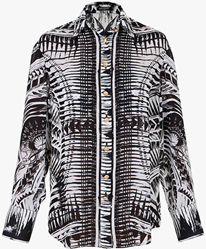 Balmain Tatoo Print Silk-Georgette Women's Shirt: €1,330.