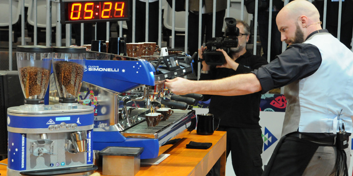The new Barista World Champion 2013: Pete Licata from the United States at work.