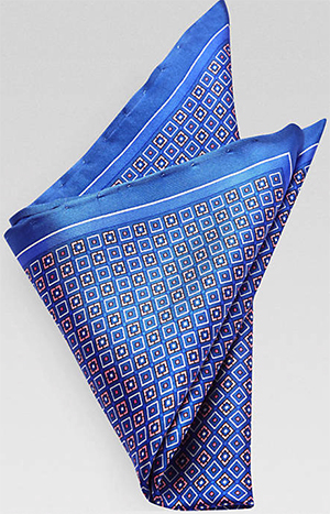 Jhane Barnes Blue Geometric Pocket Square: US$19.99.