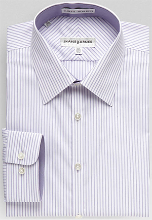 Jhane Barnes Lavender Stripe Slim Fit Dress Shirt: US$20.99.
