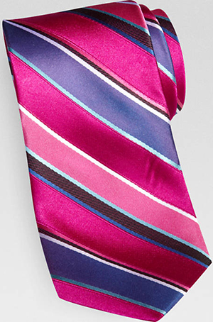 Jhane Barnes Fuchsia and Blue Stripe Narrow Tie: US$59.50.