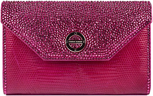 Farbod Barsum Fuchsia Ring Lizard Women's Bag with Swarovski Crystals.