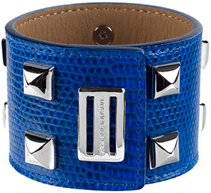 Farbod Barsum Electric Blue Ring Men's Lizard Cuff With Studded Accents.