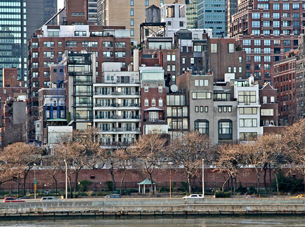 Beekman Place as seen from the East River, New York City, NY, U.S.A.