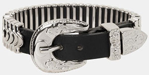 The Kooples Chain Metal Bracelet with Leather Buckle: £38.50.