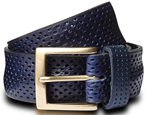 Richard James Navy Punched Men's Leather Belt: £175.