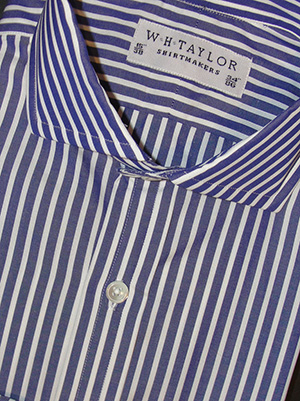 W.H. Taylor Shirtmakers Bespoke Mens Large Navy Stripe White Wide Pinstripe Shirt in Various Options: £62.50.