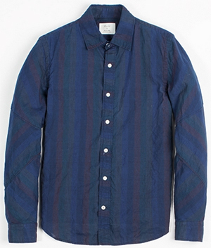 Billy Reid Maynard Blue Stripe men's shirt: US$245.