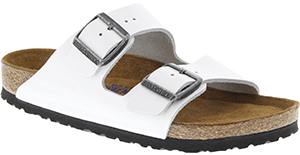 Birkenstock Soft Footbed Bright White Patent Leather Arizona Women's Sandal: US$135.